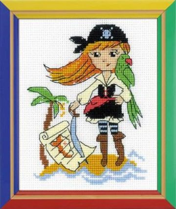 Riolis Cross Stitch Kit.TREASURE ISLAND. Suitable for kids or beginners.